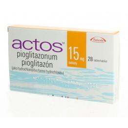 Актос (Пиоглитазон) 15мг, 28 таблеток